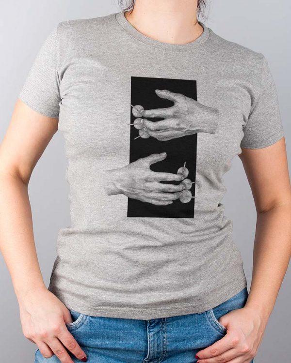 Tshirt damski szary melanż modny nadruk ekologicznymi farbami nie spiera się - Photoninja.pl