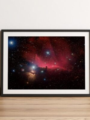 plakat mgławica koński łeb z głową w gwiazdach